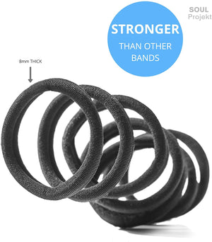 Soul Projekt Hair Bands 50 Pack 8mm/Excellent Multipurpose Ties(Black 8mm), No Metal Tough Elastic Hair Bobbles for Numerous Hair Types/Pigtail, Plaiting, Ponytails & Buns For School, Work or Gym
