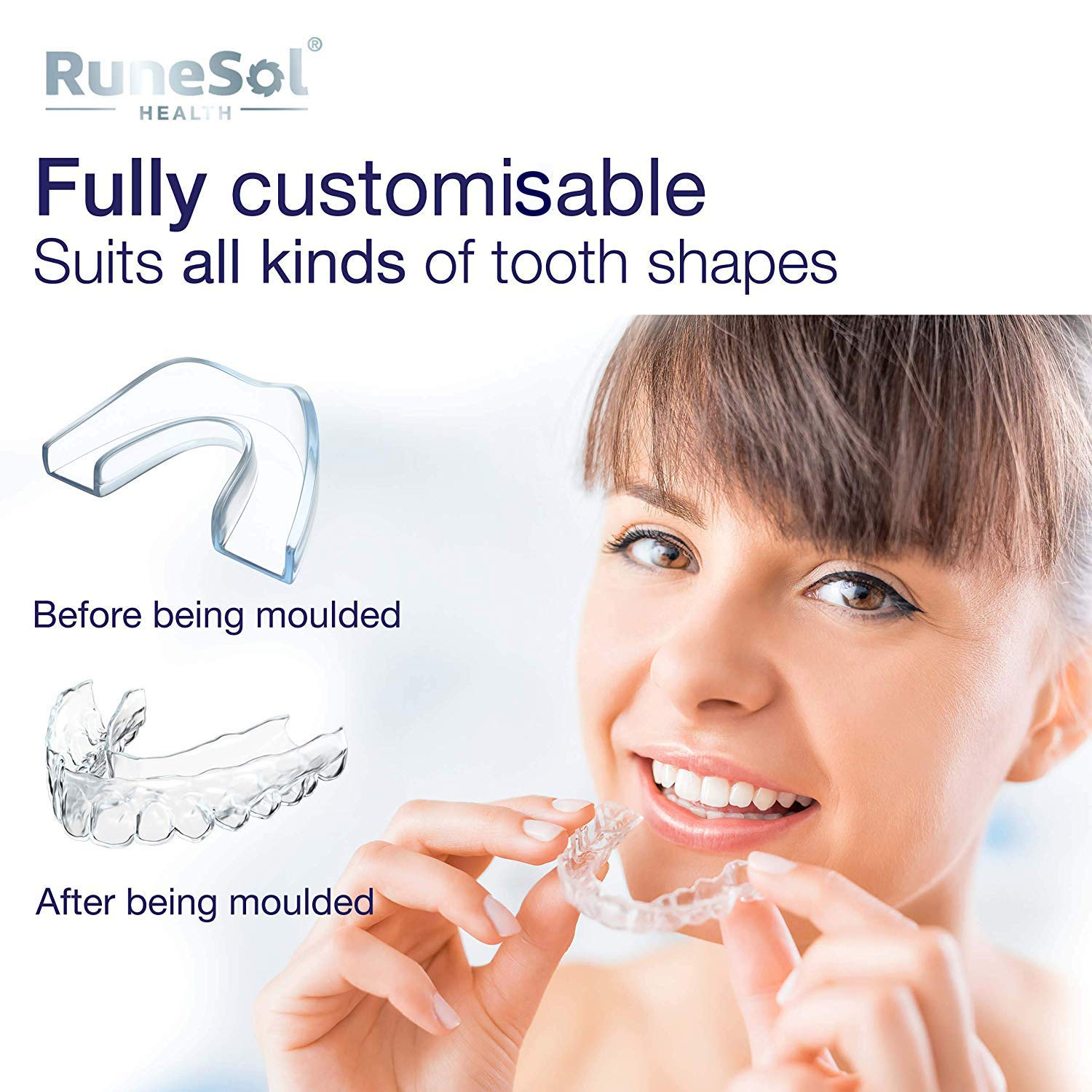 RUNESOL Mouthguard - One Size Fits All Premium Set of 4 BPA Free Mouldable, Customisable and Trimmable Medical Grade Mouth Guard for Grinding Teeth Clenching Bruxism, Sport Athletic, Whitening Tray