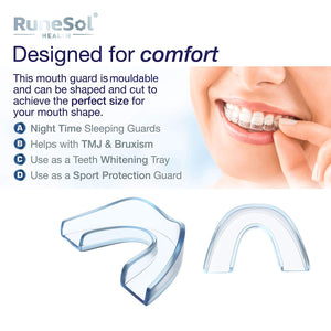 RUNESOL Mouthguard - One Size Fits All Premium Set of 8 BPA Free Mouldable, Customisable and Trimmable Medical Grade Mouth Guard for Grinding Teeth Clenching Bruxism, Sport Athletic, Whitening TMJ