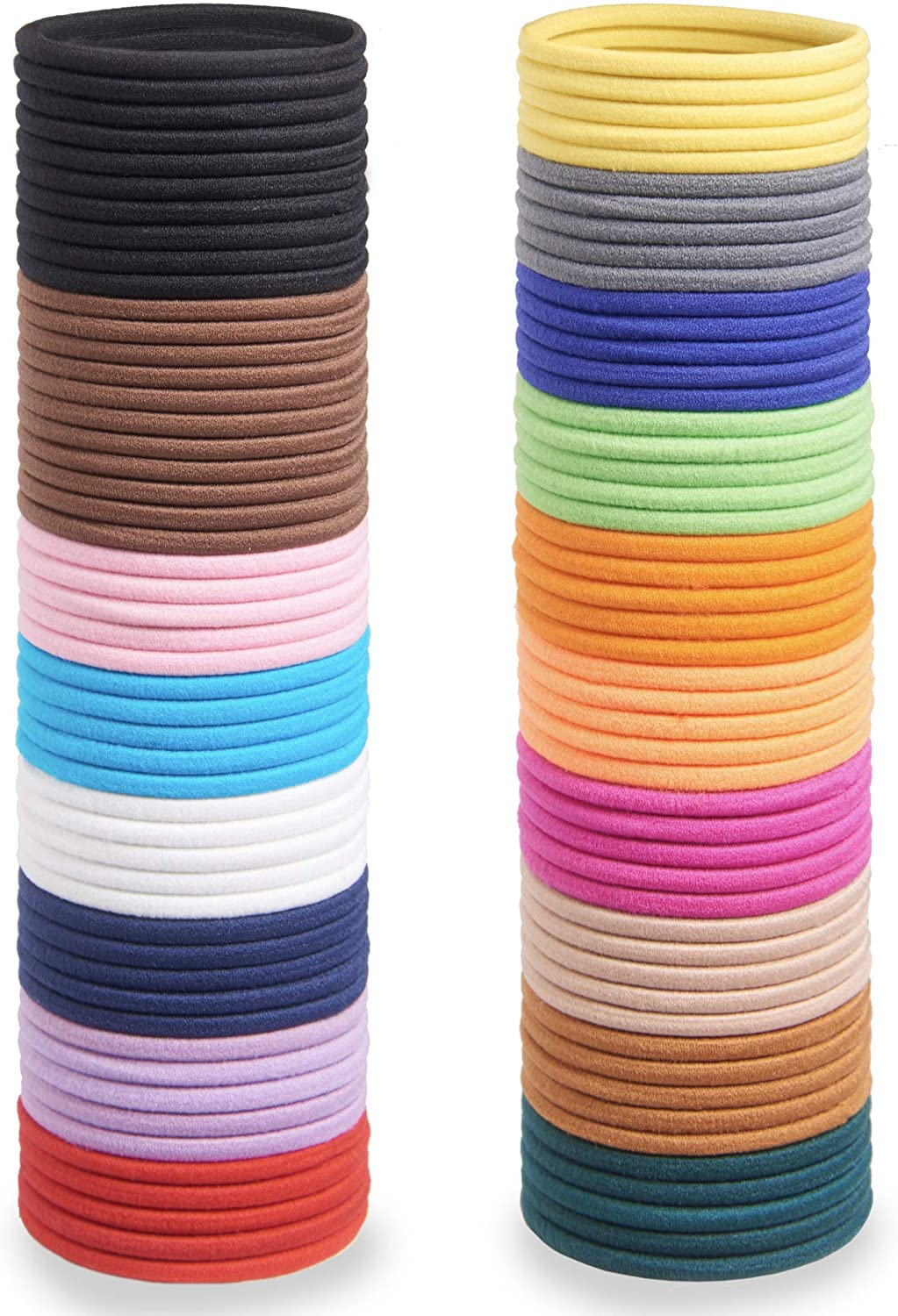 Soul Projekt Hair Bands 100 Pack 4mm/Excellent Multipurpose Ties(Multi 4mm), No Metal Tough Elastic Hair Bobbles for Numerous Hair Types/Pigtail, Plaiting, Ponytails & Buns For School, Work or Gym