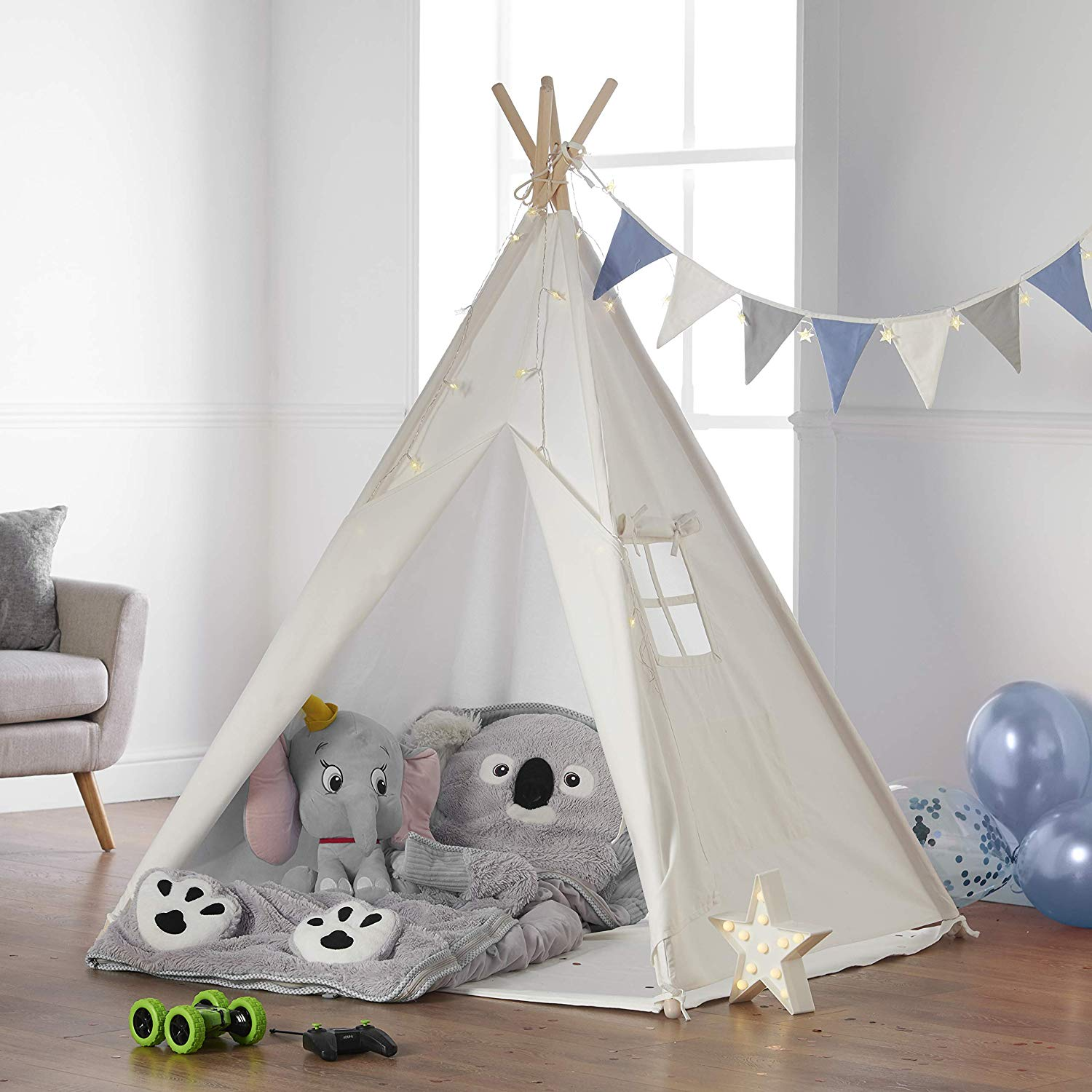 Haus Projekt Kids TeePee (Blue Bunting) with Fairy Lights, Bunting & Free Waterproof Base 160cm Tipi Tent