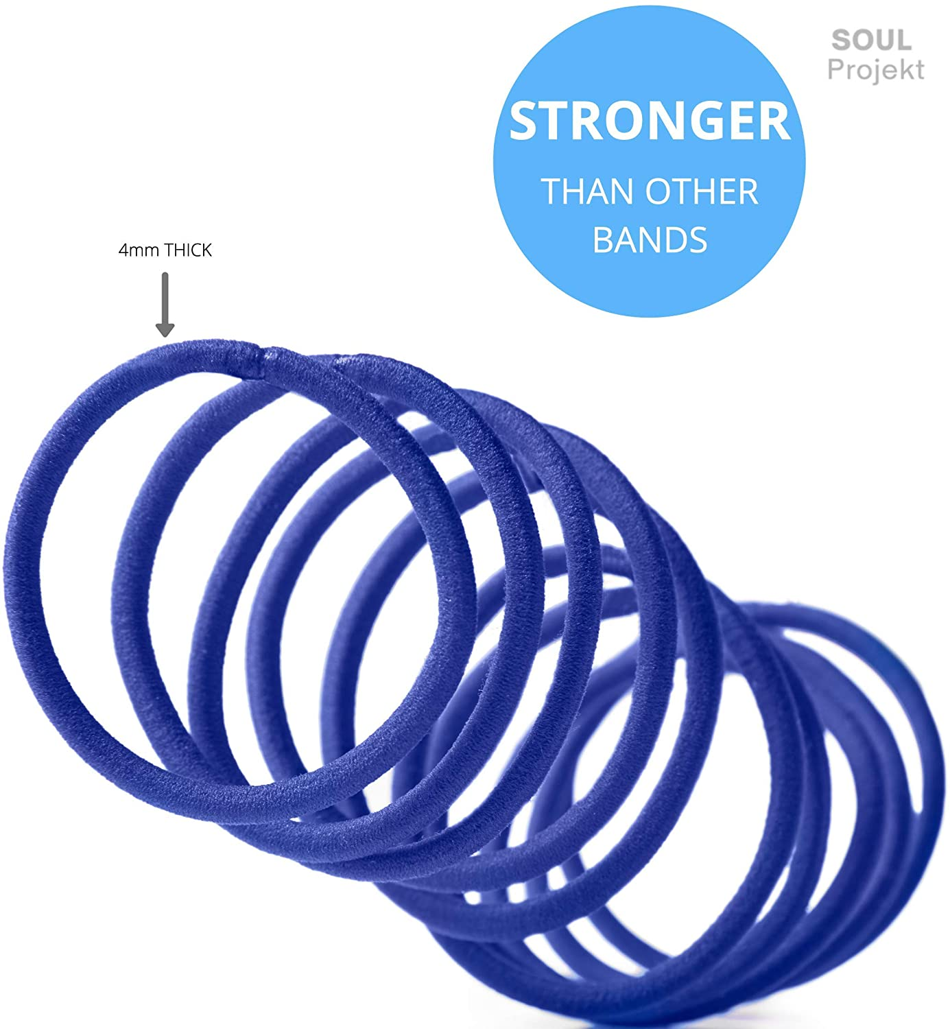 Hair Bands 100 Pack 4mm Blue Bobbles, No Metal, No Damage
