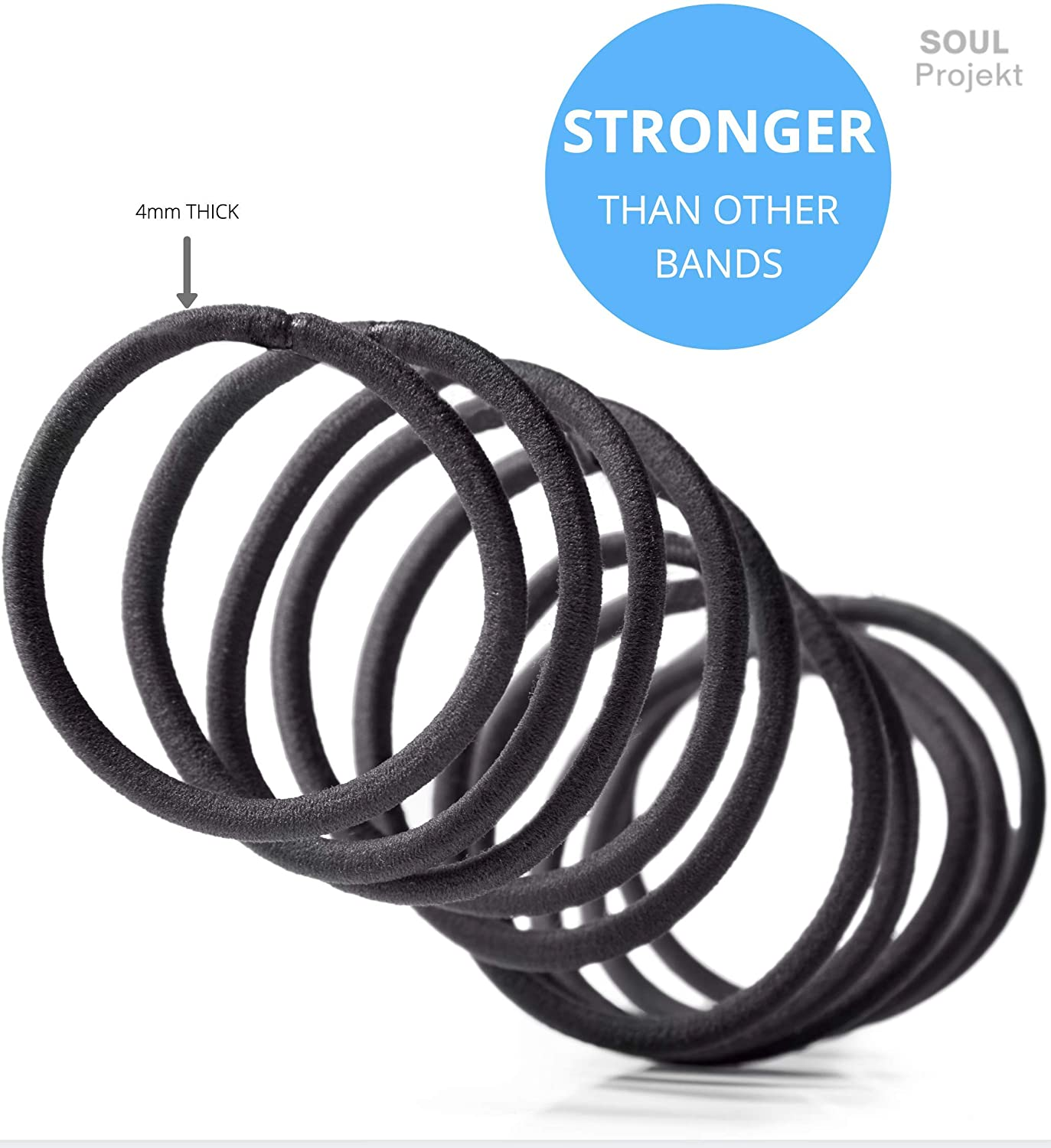Soul Projekt Hair Bands 100 Pack 4mm/Excellent Multipurpose Ties (Black), No Metal Tough Elastic Hair Bobbles for Numerous Hair Types/Pigtail, Plaiting, Ponytails & Buns For School, Work or Gym