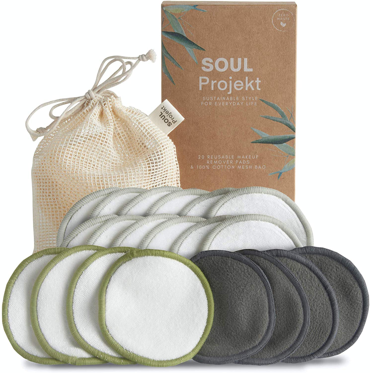 Soul Projekt 20 x Reusable Make Up Remover Pads, 3 Layers, Washable Organic Bamboo Cotton Cleansing Face Wipes, Mesh Laundry Bag, Eco-Friendly & Zero Waste, For All Skin Types (8cm)