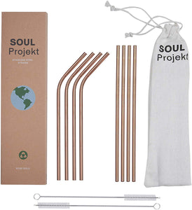 Reusable Straws Stainless Steel Rose Gold (x8)