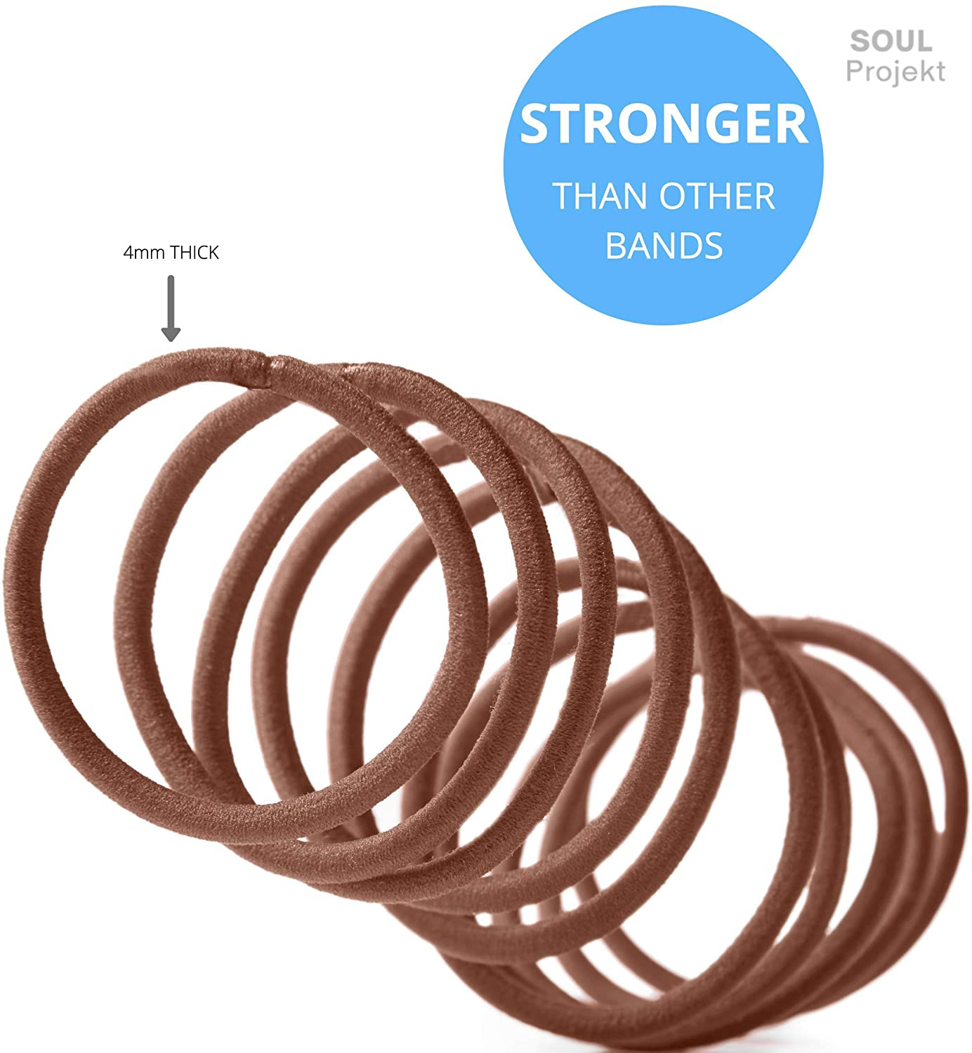 Soul Projekt Hair Bands 100 Pack 4mm/Excellent Multipurpose Ties (Brown), No Metal Tough Elastic Hair Bobbles for Numerous Hair Types/Pigtail, Plaiting, Ponytails & Buns For School, Work or Gym