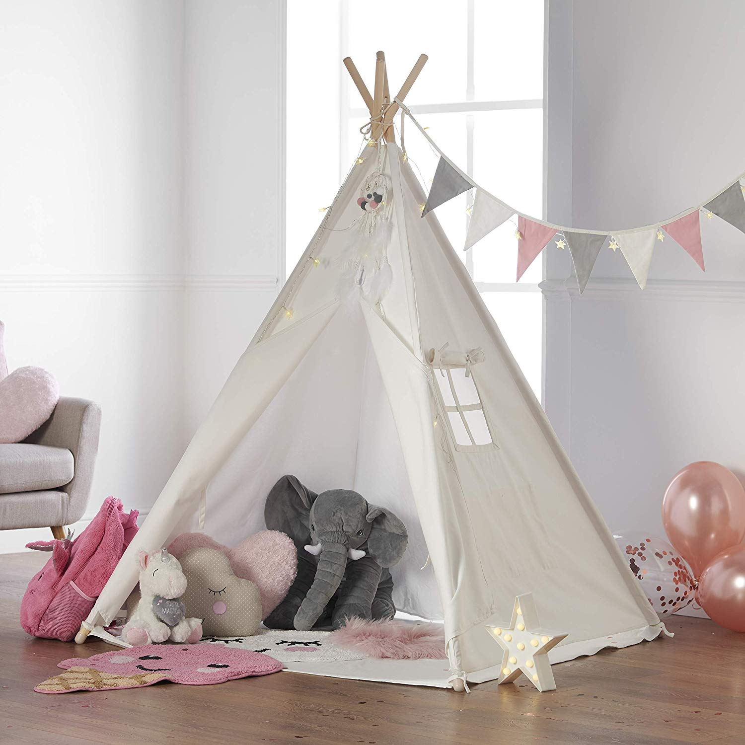 Haus Projekt Kids TeePee (Pink Bunting) with Fairy Lights, Bunting & Free Waterproof Base 160cm Tipi Tent