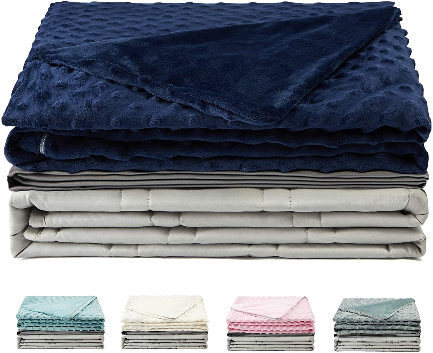 Haus Projekt Premium Weighted Blanket & Removable Cover (Blue) | Heavy Sensory Blanket With Premium Glass Beads | Relaxing Sleep Therapy for People With Anxiety, Insomnia or Stress