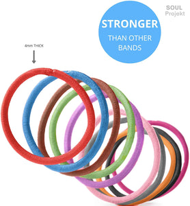 Hair Bands 100 Pack 4mm Multi Bobbles, No Metal, No Damage
