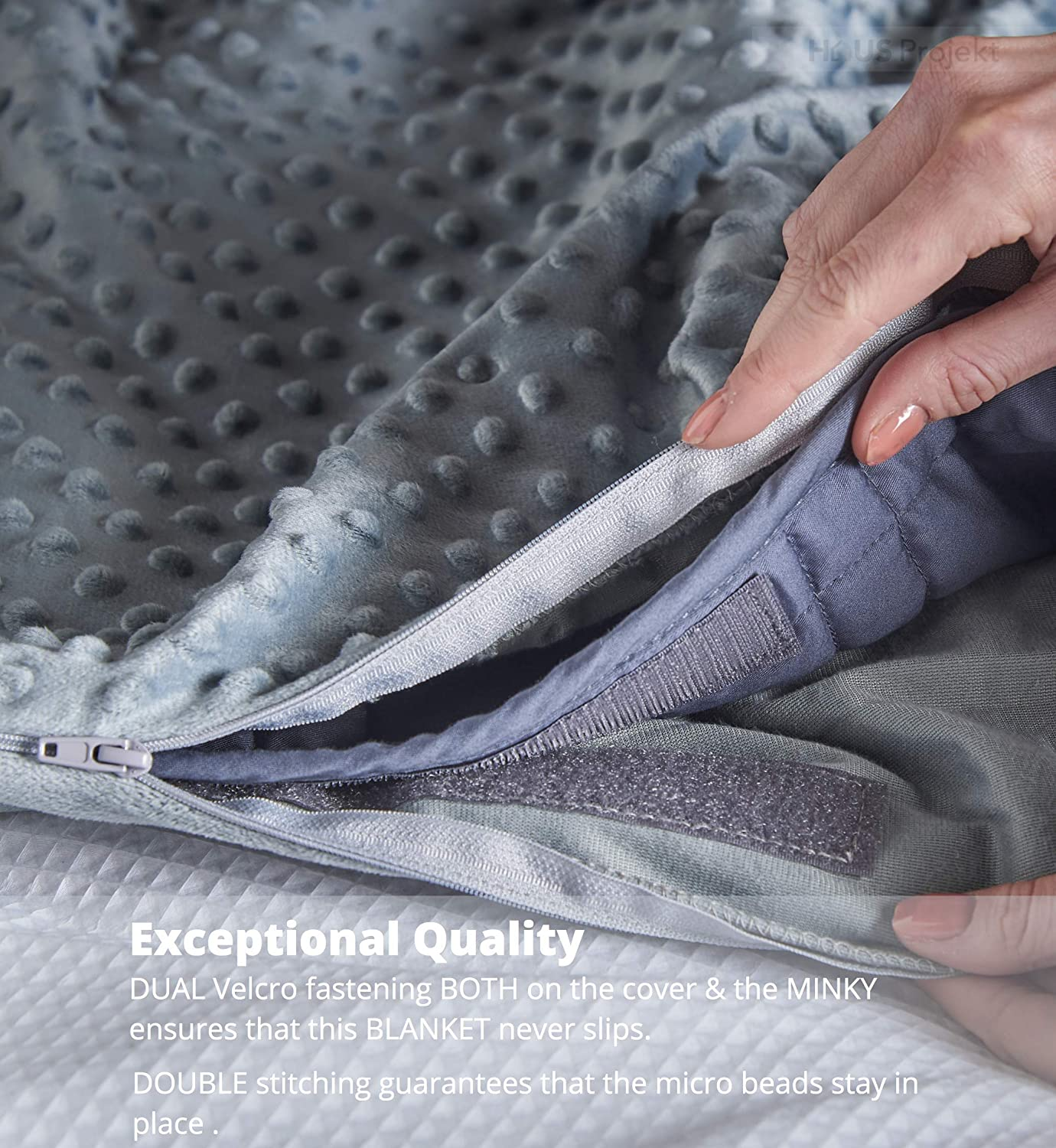 Premium Light Grey Weighted Blanket with Two Removable Covers (Navy)