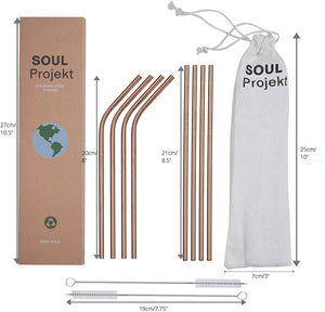 SOUL PROJEKT Reusable Straws Stainless Steel Rose Gold (x8) BPA Free – Metal Drinking Straws with 2 x Free Cleaning Brushes & Pouch, Eco Friendly