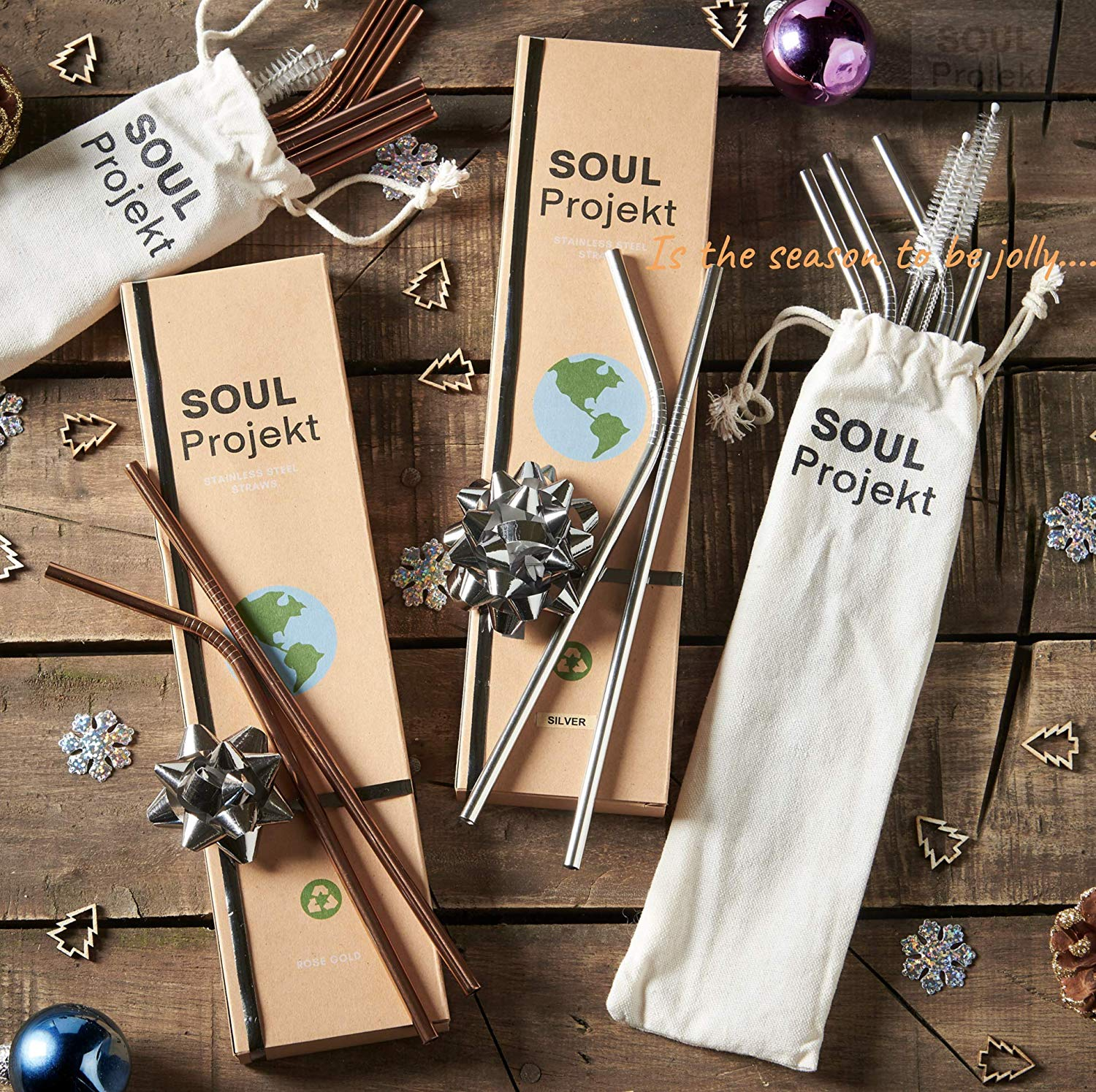 SOUL PROJEKT Reusable Straws Stainless Steel Silver (x8) BPA Free – Metal Drinking Straws with 2 x Free Cleaning Brushes & Pouch, Eco Friendly