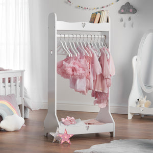 Haus Projekt Storage Dress Rail for children, Children's White Wooden Clothing Rack, Girls Hand Made dress up rail, Babies Open wardrobe, space saving children's bedroom, Nursery furniture, clothing rail, fancy dress storage