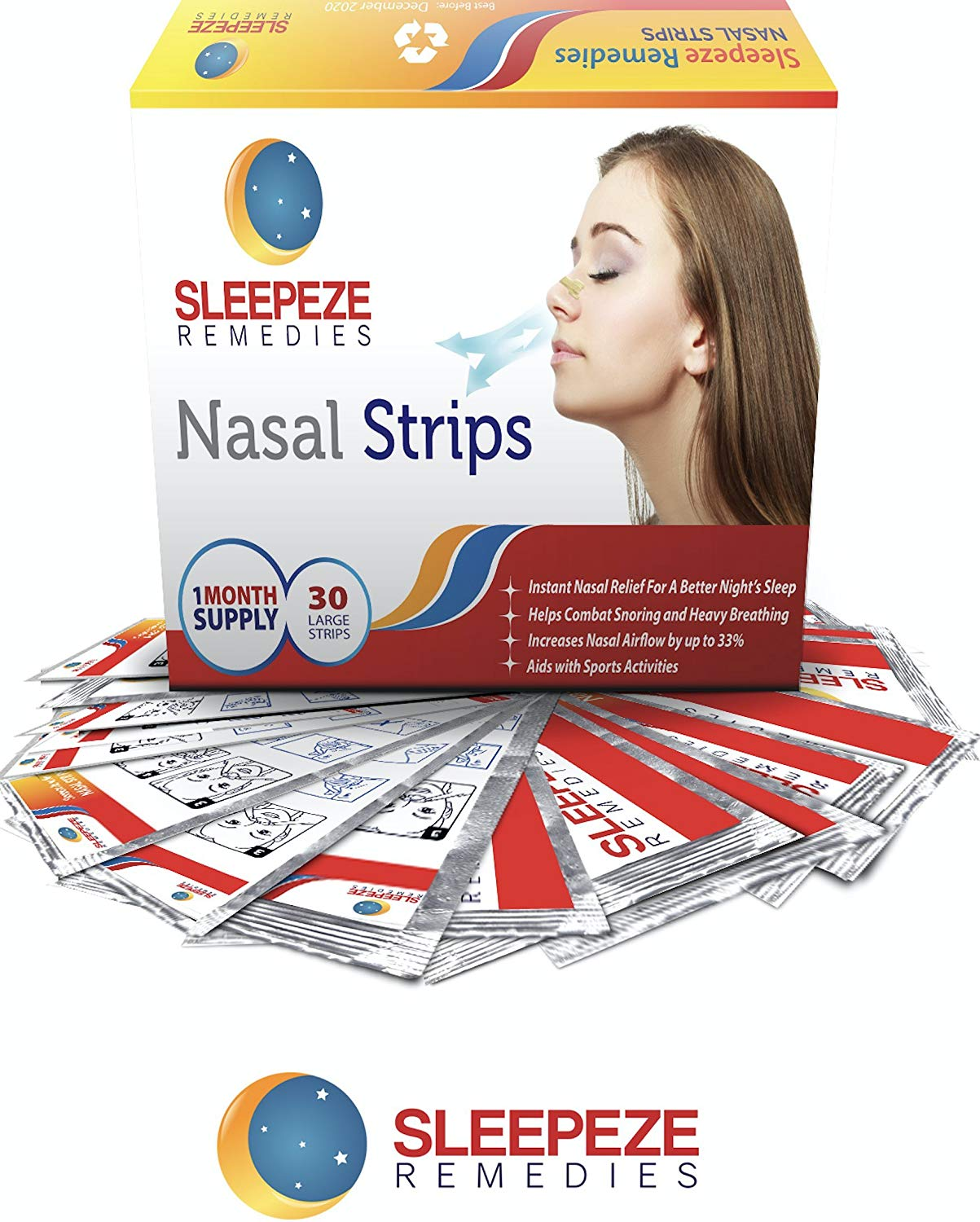 Nasal Strips Large x30 (New Pack Size!) Sleepeze Remedies® Nose Strips (Medium)
