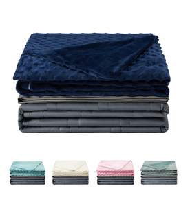 Premium Dark Grey Weighted Blanket with Two Removable Covers (Navy)