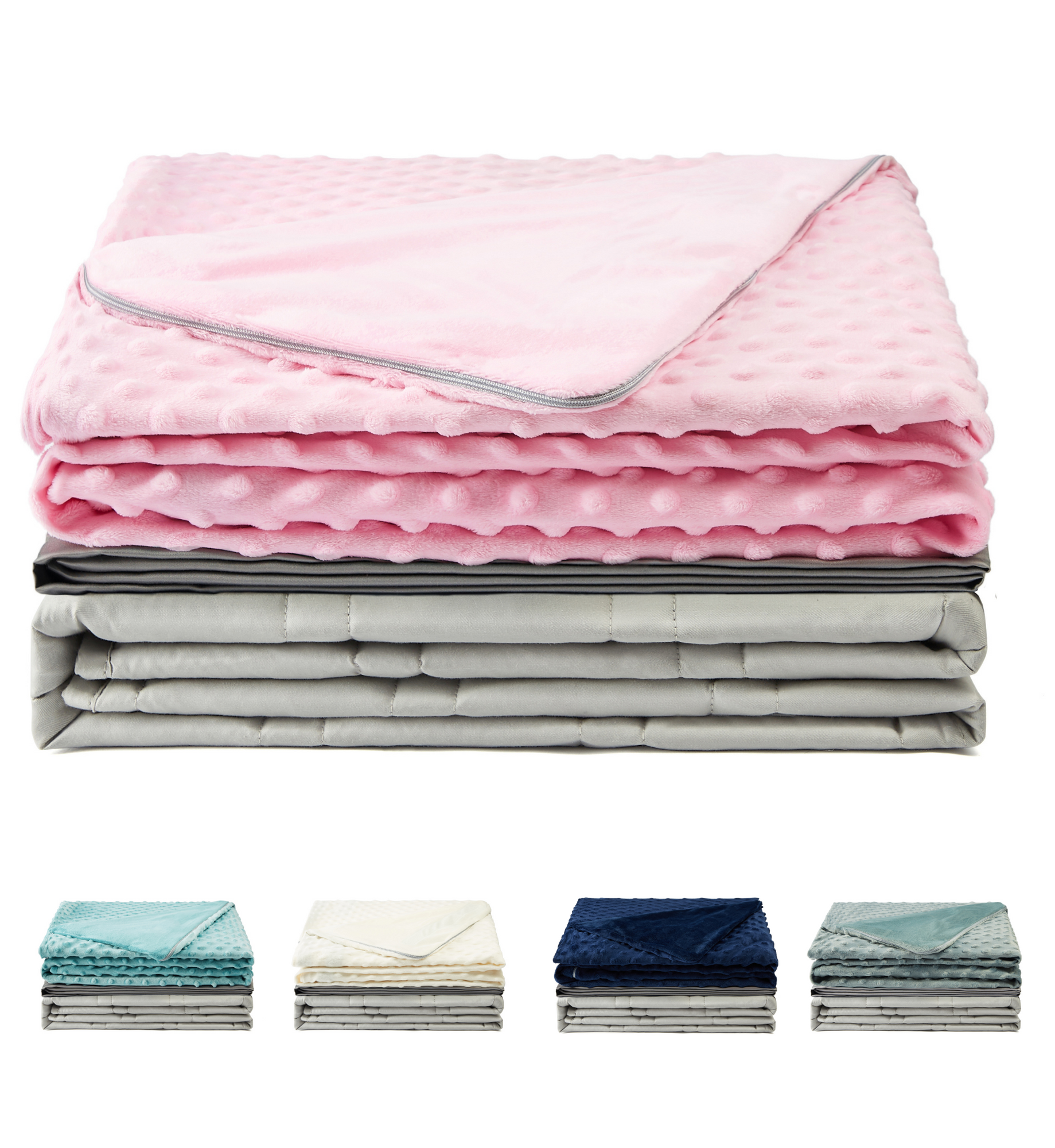 Premium Light Grey Weighted Blanket with Two Removable Covers (Pink)