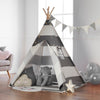 Haus Projekt Kids TeePee Striped with Fairy Lights, Bunting & Free Waterproof Base 160cm Tipi Tent