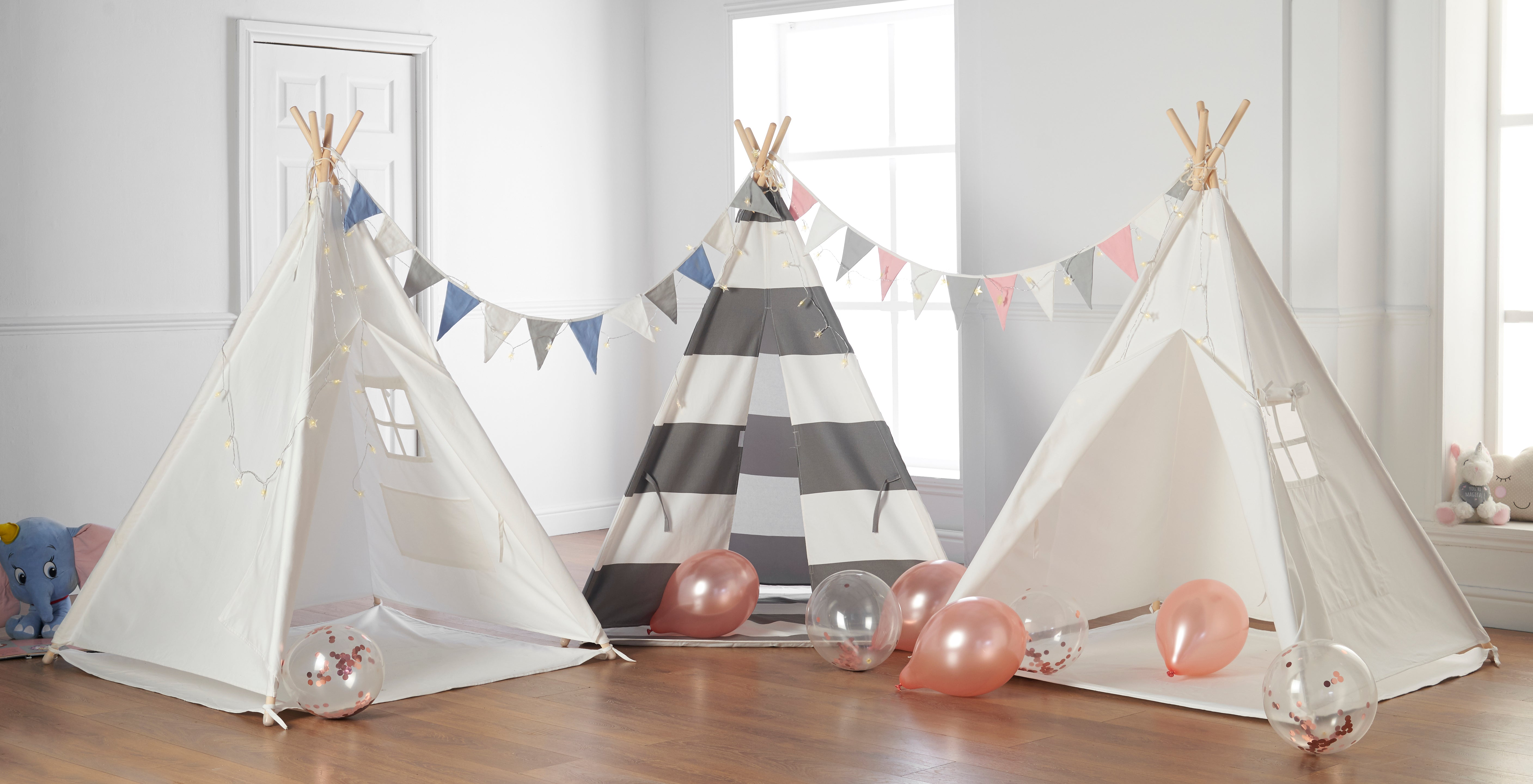 Teepee with Blue Bunting, Fairy Lights & Waterproof Base 160cm High