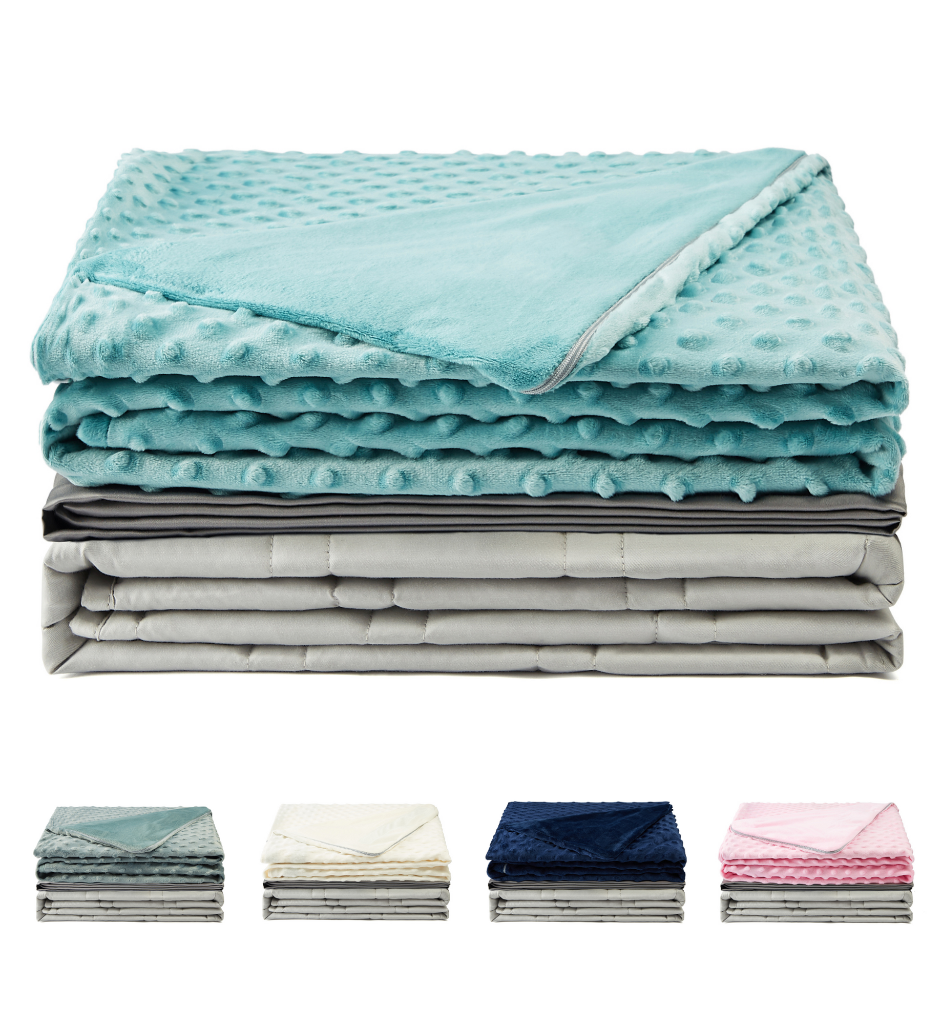Premium Light Grey Weighted Blanket with Two Removable Covers (Aqua)