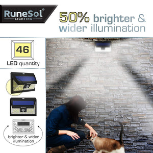 RuneSol® 46 LED (2 Pack) Motion Sensor Solar Powered LED Lighting