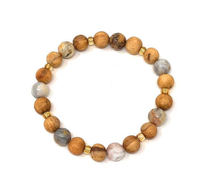 Palo Santo Bracelet: Crazy Lace Agate Brilliance