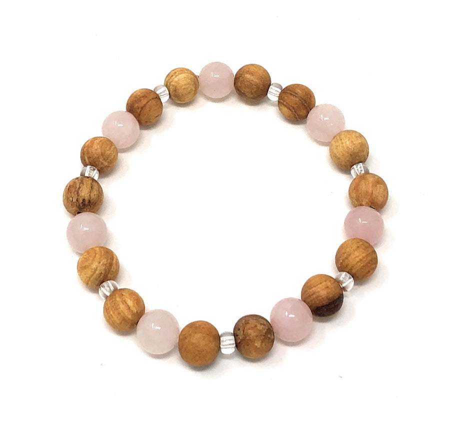 Palo Santo Bracelet: Rose Quartz Brilliance