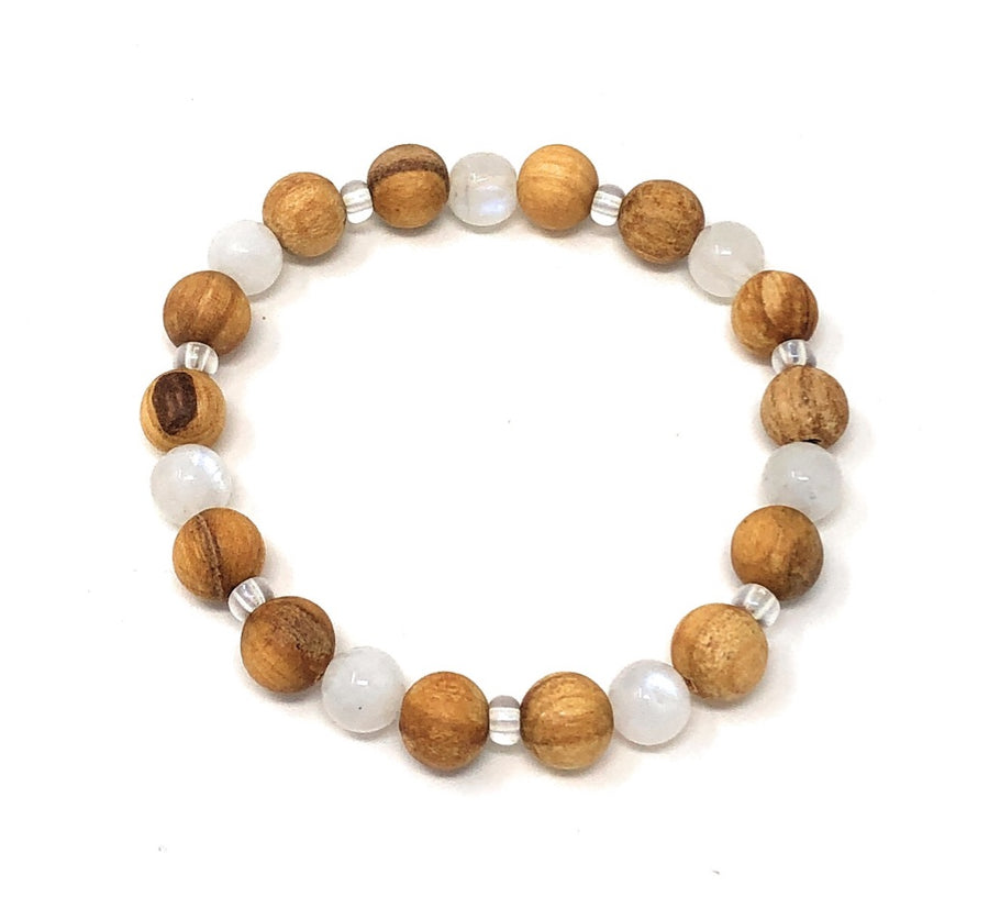 Palo Santo Bracelet: Moonstone Brilliance