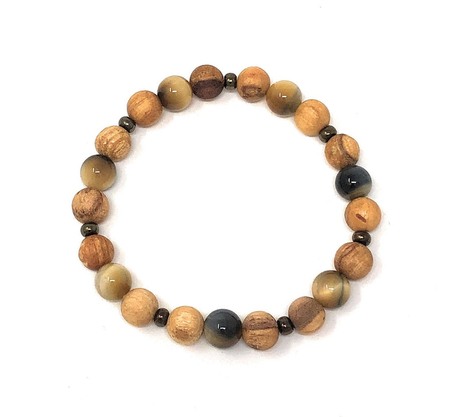 Palo Santo Bracelet: Yellow Tiger's Eye Brilliance