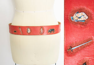 1970s Belt Red Leather Novelty Tooled Matador Cinch Waist