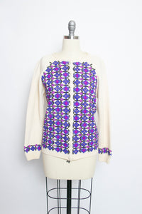1960s Sweater Wool Knit Embroidered Cardigan S