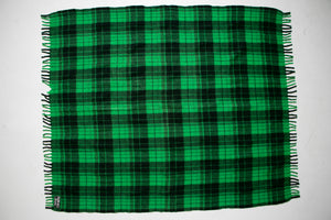 1970s Throw Blanket Wool Green Plaid