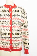 Load image into Gallery viewer, 1960s Norwegian Sweater Wool Knit Cardigan Small