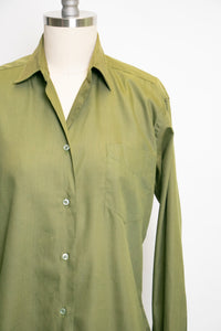 1950s Blouse Cotton Green Long Sleeve Top M
