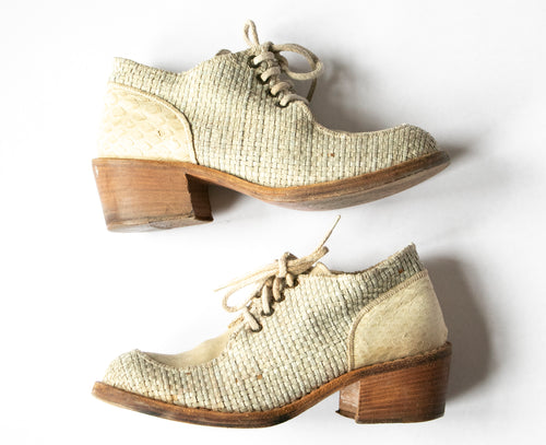 1990s Shoes Woven Leather Chunky Leather Ankle Booties Sz 37.5