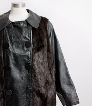Load image into Gallery viewer, 1960s Fur Coat Black Leather Mod Jacket X Large