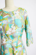 Load image into Gallery viewer, 1960s Dress Pastel Floral Silk A-Line Day M
