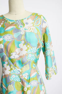 1960s Dress Pastel Floral Silk A-Line Day M