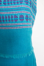 Load image into Gallery viewer, 1960s Dress Set Greek Blue Knit Wool Maxi Skirt Top Medium