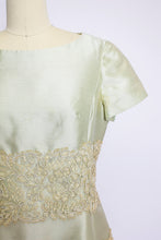 Load image into Gallery viewer, 1960s Dress Silk Lace Sea Foam Green Sage Medium