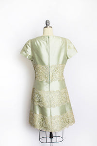 1960s Dress Silk Lace Sea Foam Green Sage Medium