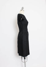 Load image into Gallery viewer, Vintage 1950s Dress Set Black Wool Wiggle Dress Cropped Jacket Ensemble Small S