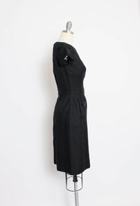 Vintage 1950s Dress Set Black Wool Wiggle Dress Cropped Jacket Ensemble Small S