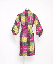 Load image into Gallery viewer, Vintage 1940s Dress Printed Rayon Poet Sleeve 40s Small