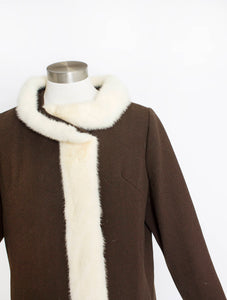1960s Coat Brown Wool Blonde MINK Fur Mod M L
