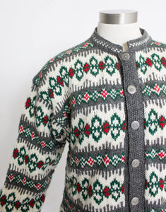 1960s NORWEGIAN Sweater Blue Ivory WOOL Knit Cardigan