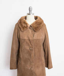 1960s Coat Brown Leather Suede Fur Collar S