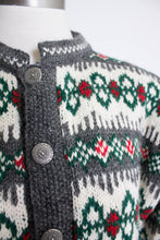 Load image into Gallery viewer, 1960s NORWEGIAN Sweater Blue Ivory WOOL Knit Cardigan