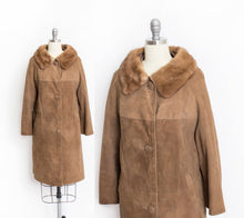 Load image into Gallery viewer, 1960s Coat Brown Leather Suede Fur Collar S