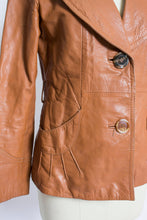 Load image into Gallery viewer, 1970s Leather Jacket Sunburst Brown Cropped Small