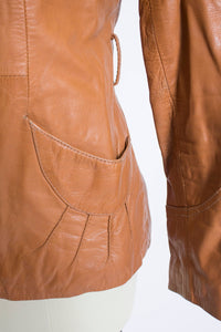1970s Leather Jacket Sunburst Brown Cropped Small